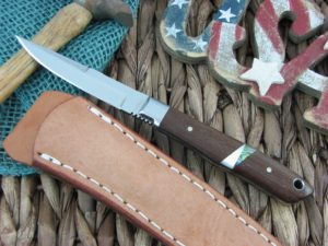 Moki Knives Bird and Trout Quince Wood with MOP Inlay AUS8 TS530BEG