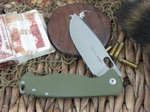 Viper Cutlery Fortis Framelock Drop Point Flipper Green G10 handles M390 steel Stone Wash 5952GG