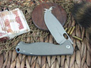 Viper Cutlery Fortis Framelock Drop Point Flipper Titanium handles M390 steel Stone Wash 5952TI