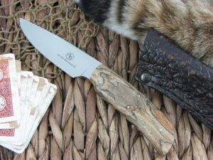 Arno Bernard Cutlery Wild Dog Scavenger Spalted Maple handles N690 steel 4414
