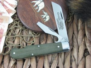 Great Eastern Cutlery Crown Lifter EZ Open Jack Tidioute OD Green Linen Micarta 153216