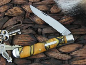 Great Eastern Cutlery Weasel Trapper Tidioute Tiger Eye Acrylic 488117