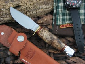 Hess Knifeworks Hunter Skinner Maple Burl - 1095 steel
