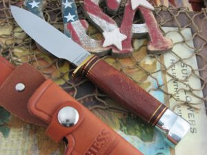 Hess Knives Muley Bushcraft Amboyna Burl Wood Handles 1095 steel