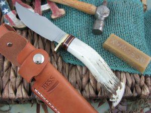 Hess Knifeworks Pioneer Skinner Crown Stag Handles 1095 steel