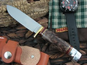 Hess Knifeworks Tiburon Maple Burl Wood Handles 1095 steel