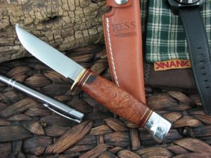 Hess Knives Whitetail Hunter Amboyna Burl Wood Handles 1095 steel
