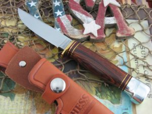Hess Knifeworks Whitetail Hunter Cocobolo Wood Handles 1095 steel