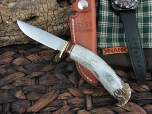 Hess Knifeworks Whitetail Hunter Crown Stag, 1095 steel