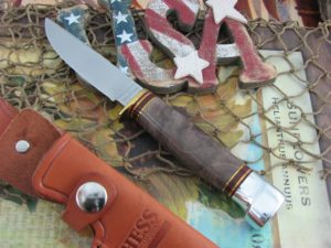 Hess Knifeworks Whitetail Maple Burl 1095 steel