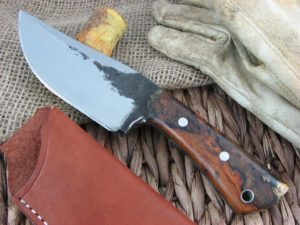 Lon Humphrey Brute De Forge Clip Point with Desert Iron Wood handles and 1095 steel