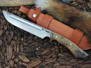 Lon Humphrey Reaver Camp with Buckeye Burl Wood handles and 1095 steel