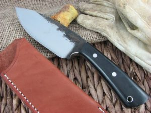 Lon Humphrey Brute De Forge Spear Point with Black Micarta handles and 1095 steel