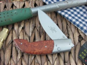Viper Cutlery Gent Drop Point Amboyna Burl Wood handles N690 steel Satin 5770RA NM