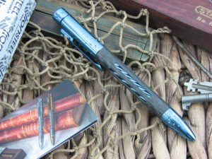 Nyala Blue Shine Titanium Carbon Fiber Space Pen by Lion Steel