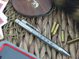 Nyala Shine Grey Titanium Damasteel Space Pen by Lion Steel