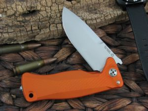 Lion Steel SR11 Drop Point blade Orange Aluminum frame Sleipner steel SR11AOS