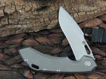 Olamic Cutlery Wayfarer 247 Harpoon blade with Bead Blasted Titanium frame