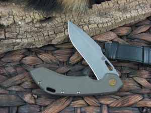 Olamic Cutlery Wayfarer 247 Harpoon blade with Kinetic Earth Titanium frame