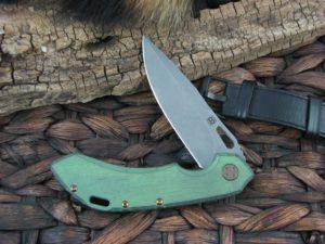 Olamic Cutlery Wayfarer 247 Clip blade with Kinetic Rainforest Titanium frame