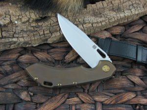 Olamic Cutlery Wayfarer 247 Clip blade with Orange Peel Bronze Titanium frame