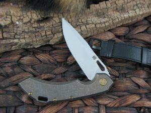 Olamic Cutlery Wayfarer 247 Clip blade with Stonewashed Bronze Titanium frame