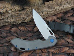 Olamic Cutlery Wayfarer 247 Clip blade with Darkblast Titanium frame