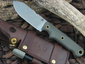 White River Knives Firecraft4 with OD Canvas Micarta handles FC4
