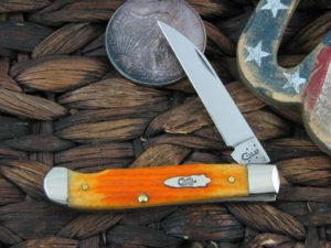 Case Knives EZ Open Mini Trapper with Persimmon Orange 2nd Cut Bone handles 19881