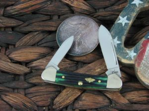 Case Knives Butterbean with Hunter Green 2nd Cut Bone handles 30953
