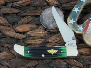 Case Knives Mid Folding Hunter with Hunter Green 2nd Cut Bone handles 30955