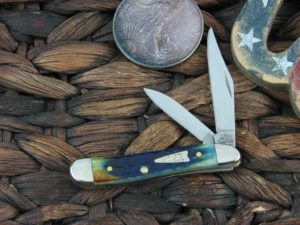 Case Knives Peanut with Burnt Indigo Corncob Bone handles 49227