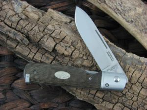 Fallkniven Gentlemans Pocket Knife with Green Micarta handles and LamCos blade GPGM