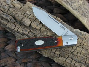 Fallkniven Gentlemans Pocket Knife with Amber Jigged Bone handles and LamCos blade GPjb
