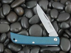 Maserin Cutlery Plow Sodbuster with Blue Canvas Micarta handles CK0314