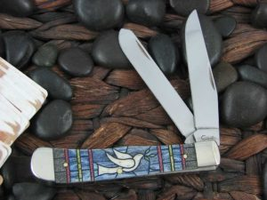 Case Knives Trapper with Stain Glass Dove Bone handles CA38715
