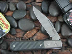 Lion Steel Shuffler Clip Jack Black Carbon Fiber Handles Blade and Bolsters are Damasteel Super Dense Steel CK0112