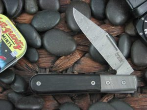 Lion Steel Shuffler Clip Jack Ebony Wood Handles Blade and Bolsters are Damasteel Super Dense Steel CK0112