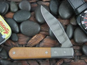 Lion Steel Shuffler Clip Jack Natural Canvas Micarta Handles Blade and Bolsters are Damasteel Super Dense Steel CK0112