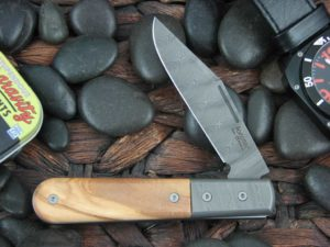 Lion Steel Shuffler Clip Jack Olive Wood Handles Blade and Bolsters are Damasteel Super Dense Steel CK0112