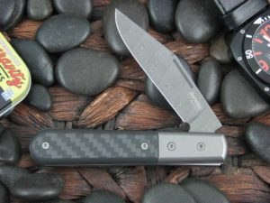 Lion Steel Shuffler Clip Jack Black Carbon Fiber Handles Damasteel Super Dense Steel CK0112