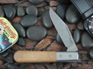 Lion Steel Shuffler Clip Jack Natural Canvas Micarta Handles Damasteel Super Dense Steel CK0112