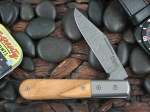 Lion Steel Shuffler Clip Jack Olive Wood Handles Damasteel Super Dense Steel CK0112