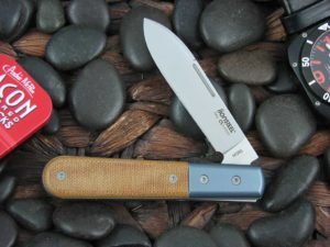 lionSteel Spear Jack with Blue Anodized Titanium Bolsters Natural Canvas Micarta handles CK0111