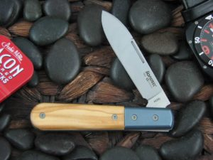 lionSteel Spear Jack with Blue Anodized Titanium Bolsters Olive Wood handles CK0111