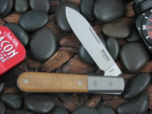 lionSteel Spear Jack with Titanium Bolsters Natural Canvas Micarta handles CK0111
