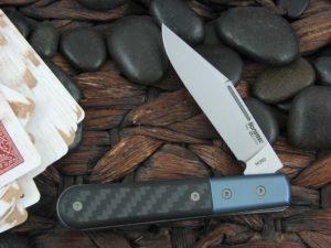 Lion Steel Shuffler Clip Jack Blue Anodized Titanium Bolsters Black Carbon Fiber Handles M390 Steel CK0112