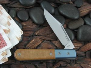 Lion Steel Shuffler Clip Jack Blue Anodized Titanium Bolsters Natural Canvas Micarta Handles M390 Steel CK0112
