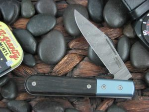 Lion Steel Shuffler Clip Jack Ebony Wood Handles Blue Ti Bolsters Damasteel Super Dense Steel CK0112