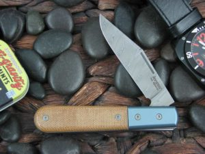 Lion Steel Shuffler Clip Jack Natural Canvas Micarta Handles Blue Ti Bolsters Damasteel Super Dense Steel CK0112